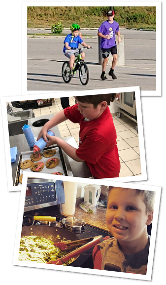 Collage of young boy cooking and biking